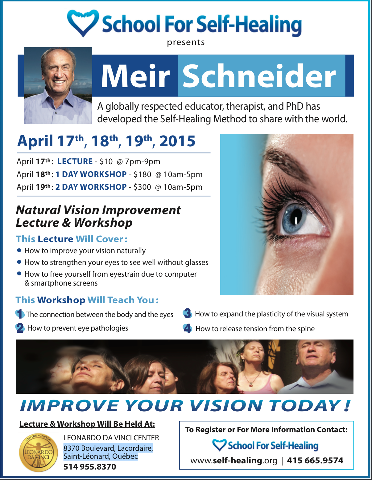 "Workshop in Montreal! ""Natural Vision Improvement"" @ Leonardo Da Vinci Center 