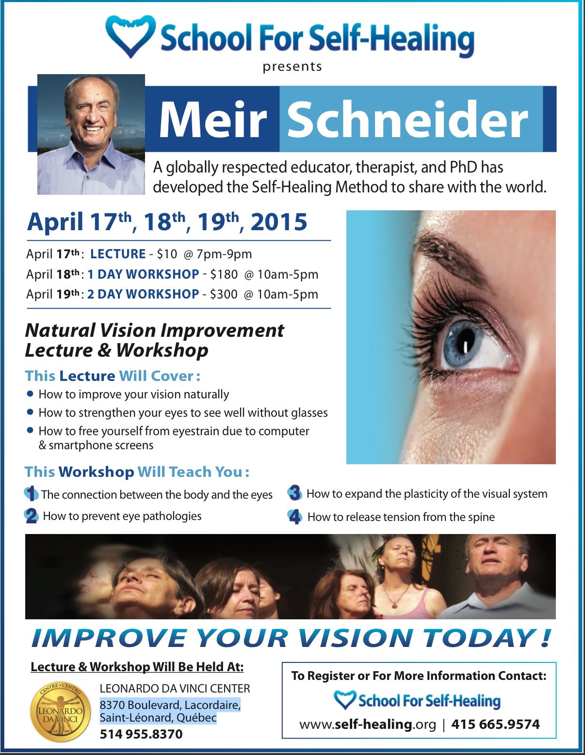 "Lecture in Montreal! ""Natural Vision Improvement"" @ Leonardo Da Vinci Center | Montréal | Québec | Canada"